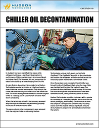 Chiller Oil decontamination, chiller service, emergency chiller service, on-site refrigerant service