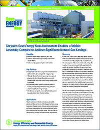Chrysler Save Energy Now Assessment, Vehicle Assembly plant case study, optimizing boiler operation, boiler efficiency, steam traps repair, Chrysler St. Louis complex, Energy efficiency case study, DOE steam system assessment tools, flue gas oxygen content, Steam Trap Management Program, Boiler load management, Boiler optimization