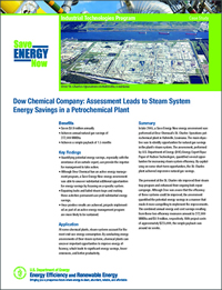 Save Energy Now assessment, Dow Chemical St. Charles, petrochemical plant case study, petrochemical plant steam system energy assessment, steam system efficiency, efficiency, steam trap savings, steam lines leak, DOE case study Dow Chemical